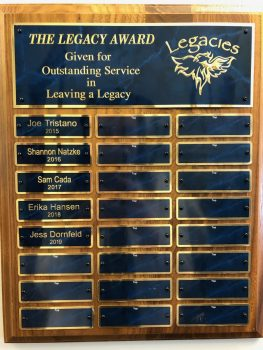 Legacies Award Plaque 2019